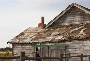 Old abandoned farmstead in rural Alberta; St. Albert, Alberta, Canada