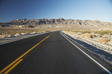 Amargosa Range and Hwy 190, near east entrance to Death Valley near town of Pahrump, Death Valley National Park; California, United States of America