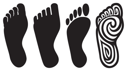human foot silhouette and footprints