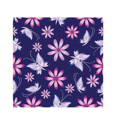 Butterflies in pink tones. The background is dark blue. Seamless pattern.