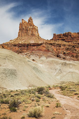 View Of Sandstone Rock Formation Called The Castle In Capital Reef National Park; Torrey, Utah, United States Of America