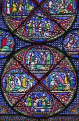 Colourful Stained Glass Window In Canterbury Cathedral; Canterbury, Kent, England