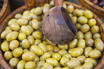 Green Olives For Sale At Borough Market; London, England