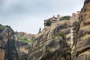 Monastery on the edge of a cliff; Meteora, Greece