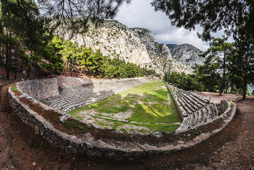 Ruins of a racing track and seating; Delphi, Greece