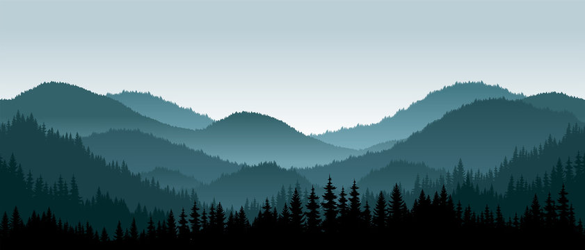 Vector mountains landscape with fog - seamless background.