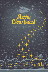 Christmas card, night winter cityscape with angel