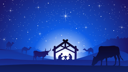 Christmas Nativity Scene with Manger Silhouette Wall mural