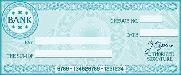 blank check (business cheque design) Wall mural
