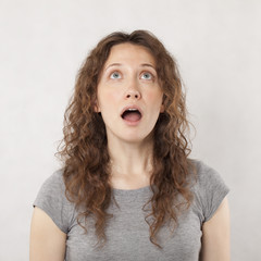 Surprised young woman portrait