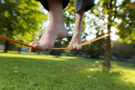 Slacklining is a practice in balance that typically uses nylon o