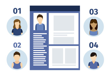 Social Media Data Infographic with Profile Element and Young People Icons