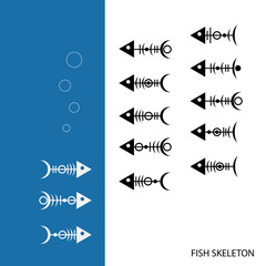 stylized skeletons of different fish
