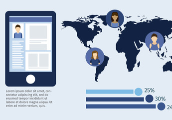 International Social Media Data Infographic with Tablet Element and Young People Icons 2