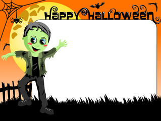 Halloween Photo picture frame border kid monster costume