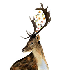 Watercolor deer with garland of lights on horns isolated on white background. Christmas wild animal illustration for design, print or background