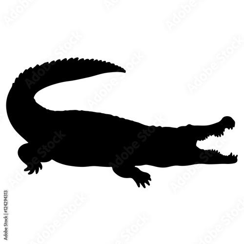 """Crocodile or caiman. Black vector silhouette of an ..."