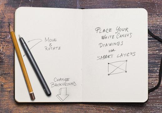 Maqueta de cuaderno de bocetos