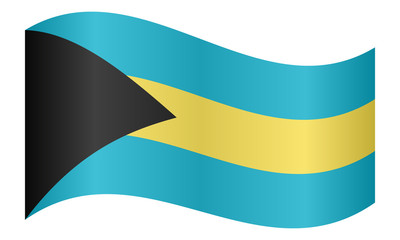Flag of Bahamas waving on white background