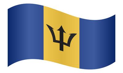 Flag of Barbados waving on white background