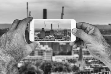 Skyline of London on smartphone