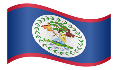 Flag of Belize waving on white background