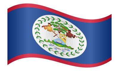 Flag of Belize waving on white background