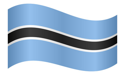 Flag of Botswana waving on white background