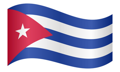 Flag of Cuba waving on white background