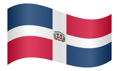 Dominican Republic flag waving on white background