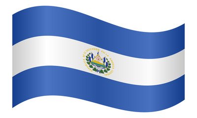Flag of El Salvador waving on white background