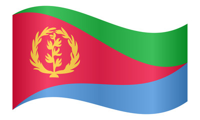 Flag of Eritrea waving on white background