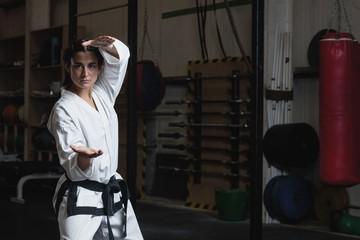 Woman practicing karate