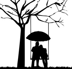 silhouette-boy and girlfriend romantic on underneath the tree