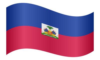 Flag of Haiti waving on white background
