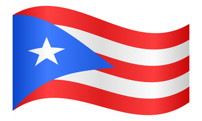Flag of Puerto Rico waving on white background