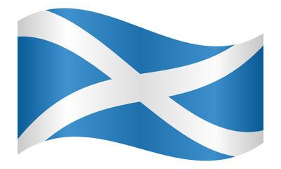 Flag of Scotland waving on white background