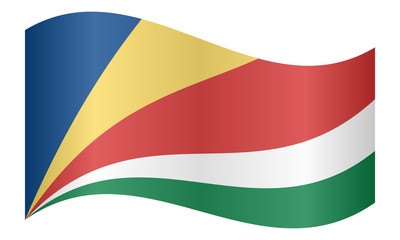 Flag of Seychelles waving on white background