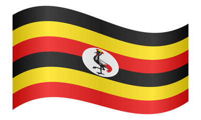 Flag of Uganda waving on white background