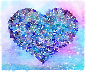 Digital watercolor painting of a heart in a variety of colors including blue, turquoise and purple. Space for text.
