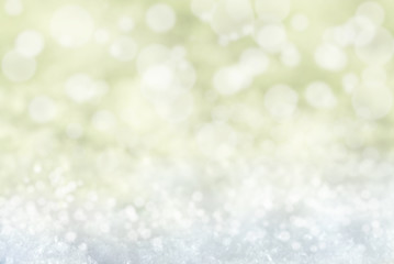 Golden Christmas Background With Snow And Bokeh