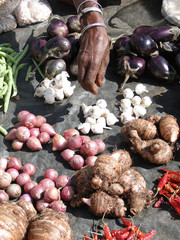 ORISSA,  INDIA - Nov 13 - Villagers sell vegetables  at a weekly market on Nov 13, 2009, in Orissa, India..