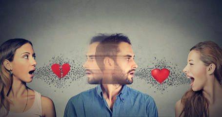 New relationship concept. Love triangle. Young man falls in love with another woman