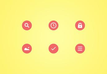 Ensemble d'icônes matérielles circulaires