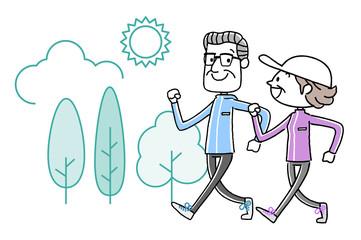 スポーツ:ウォーキングするシニア夫婦