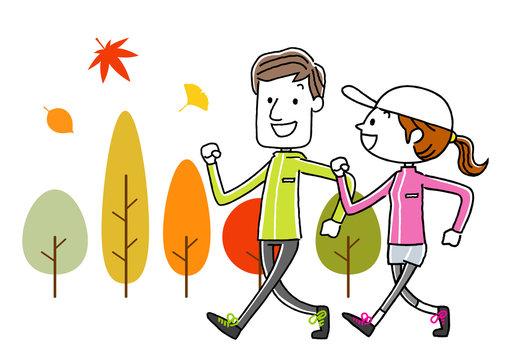 スポーツ:ウォーキングする若いカップル