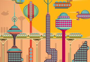 Insieme città futuristiche