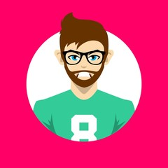 male avatar icon vector. profile picture character in flat design