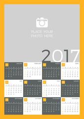 Calendar design for 2017 year. Flat style vector illustration.