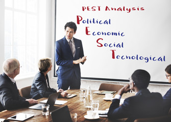 Pest Analysis Meeting Economic Concept